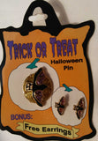 HALLOWEEN BAT PIN AND EARRING SET
