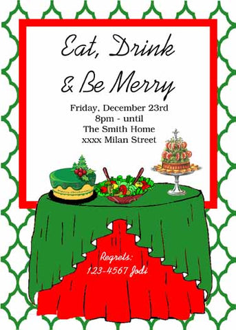 TABLE OF CHRISTMAS GOODIES CUSTOM INVITATION