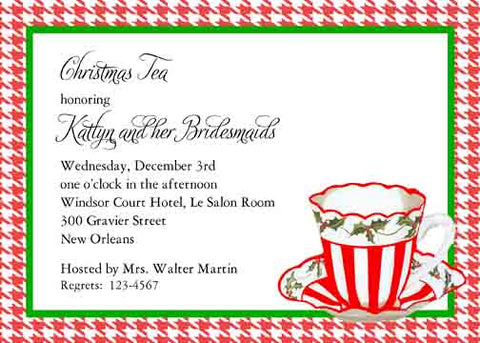 HOLLY TEA CUP CUSTOM INVITATION