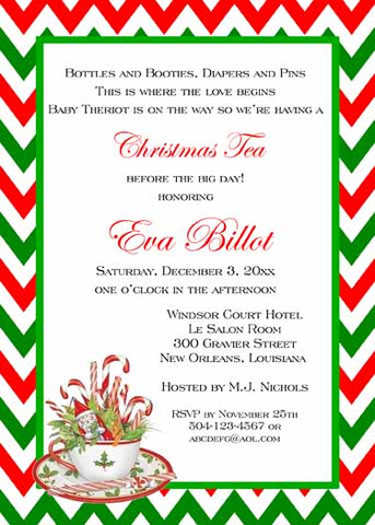 CHRISTMAS TEACUP AND CHEVRON CUSTOM INVITATION