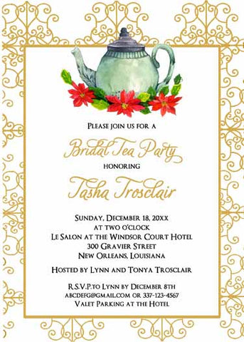 CHRISTMAS TEAPOT AND POINSETTIAS CUSTOM INVITATION