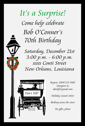 CHRISTMAS LAMPPOST, AND HORSE AND BUGGY CUSTOM INVITATION