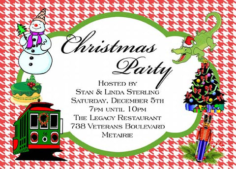 NEW ORLEANS ICONS FOR CHRISTMAS CUSTOM INVITATION