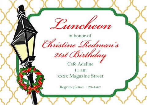 TILTED CHRISTMAS LAMPPOST CUSTOM INVITATION