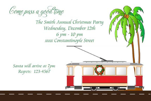 CHRISTMAS STREETCAR CUSTOM INVITATION