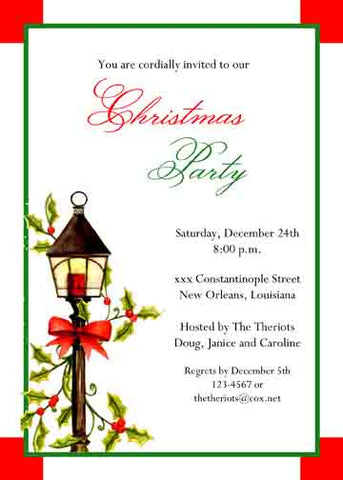 ANTIQUE LAMPPOST AND HOLLY CUSTOM INVITATION