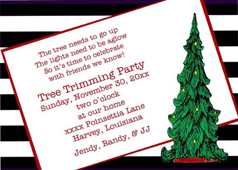 CHRISTMAS TREE WITH TITLED WORDS CUSTOM INVITATION