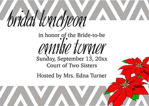 CHEVRON POINSETTIAS CUSTOM INVITATION