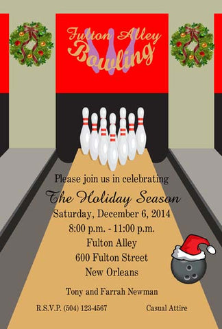 CHRISTMAS BOWLING ALLEY CUSTOM INVITATION