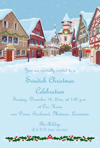 CHRISTMAS VILLAGE CUSTOM INVITATION