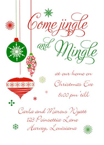 HANGING WHIMSICAL ORNAMENTS CUSTOM INVITATION