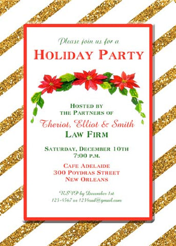 GLITTER POINSETTIA SWAG CUSTOM INVITATION