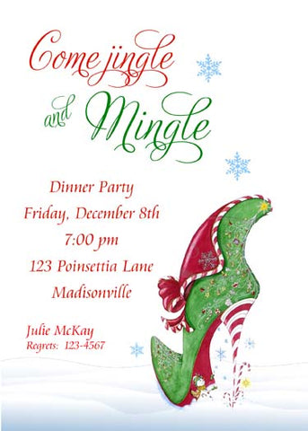 CHRISTMAS HIGH HEEL CUSTOM INVITATION