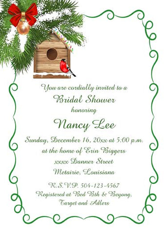 RED BIRD AND BIRD HOUSE CUSTOM INVITATION