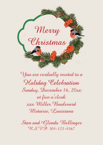 CHRISTMAS BIRD IN A WREATH CUSTOM INVITATION