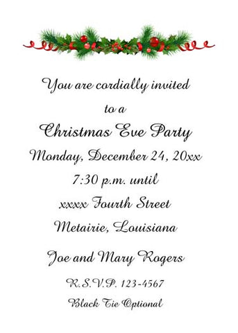 CHRISTMAS GARLAND CUSTOM INVITATION