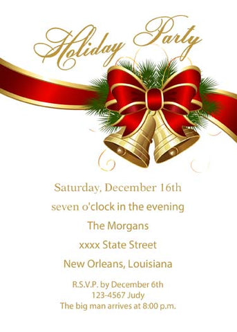 GOLD AND RED RIBBON AND GOLD CHRISTMAS BELLS CUSTOM INVITATION