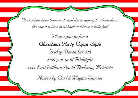 RED AND WHITE STRIPES CUSTOM INVITATION