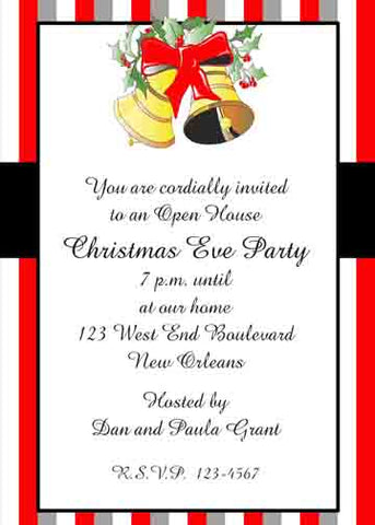 CHRISTMAS BELLS CUSTOM INVITATION