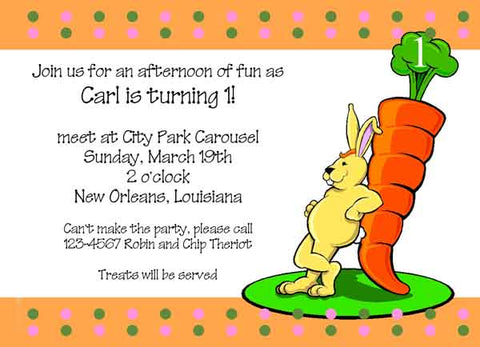 BUNNY AND LARGE CARROT CUSTOM INVITATION
