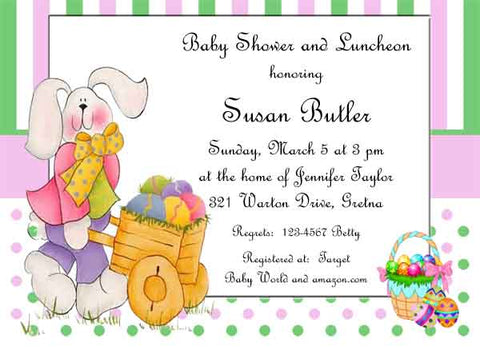 BUNNY PUSHING CART CUSTOM INVITATION