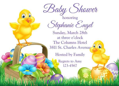 BABY CHICKS WITH EASTER BASKET CUSTOM INVITATION
