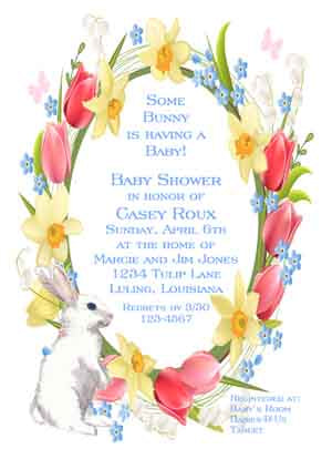 BUNNY WITH SPRING WREATH CUSTOM INVITATION