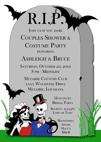 SKELETON WEDDING COUPLE AND TOMBSTONE CUSTOM INVITATION
