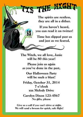 WITCH IN HER LOOKING GLASS CUSTOM INVITATION