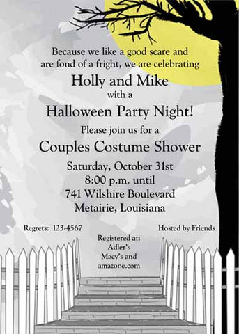HALLOWEEN YARD SCENE CUSTOM INVITATION