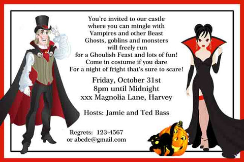 DRACULA AND  WOMAN VAMPIRE CUSTOM INVITATION