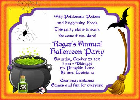 BUBBLING CAULDRON CUSTOM INVITATION