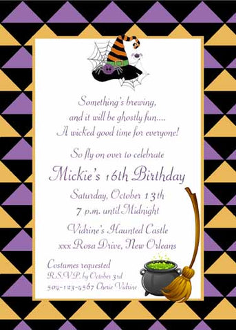 HALLOWEEN ICONS ON DIAMOND BACKGROUND CUSTOM INVITATION