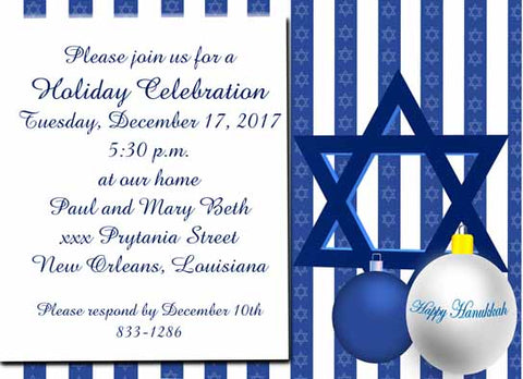 HAPPY CHANUKAH CUSTOM INVITATION