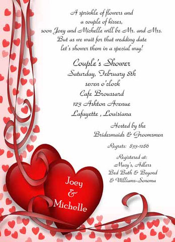 DRAPING HEARTS CUSTOM INVITATION