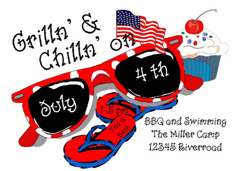 PATRIOTIC SUNGLASSES CUSTOM INVITATION