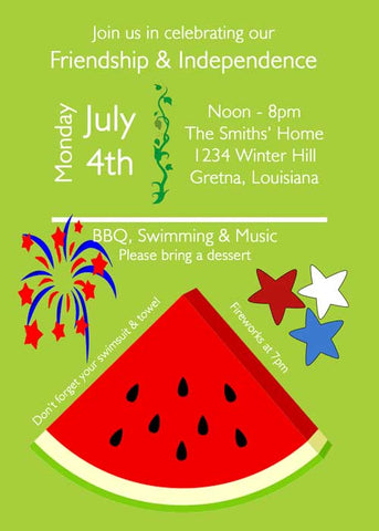 FIREWORKS AND WATERMELON SLICE CUSTOM INVITATION