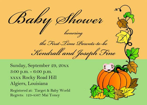 PACIFIER ON PUMPKIN WITH VINES CUSTOM INVITATION