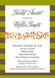 GARLAND OF LEAVES AND STRIPES CUSTOM INVITATION