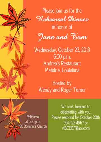 COLOR BLOCK FALL LEAVES CUSTOM INVITATION