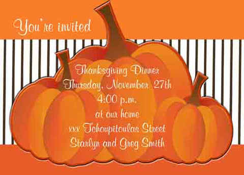 THREE PUMPKINS CUSTOM INVITATION