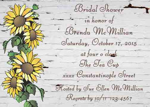 SUNFLOWERS ON BRICK WALL CUSTOM INVITATION
