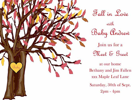 FALL TREE WITH HEART CUSTOM INVITATION