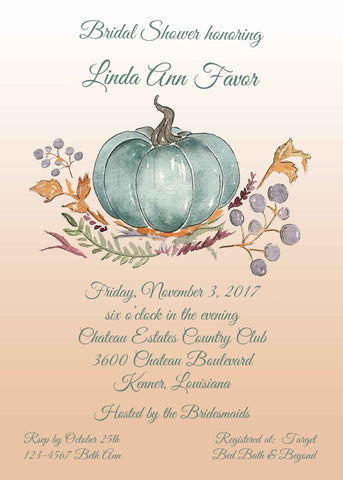 TEAL PUMPKIN CUSTOM INVITATION