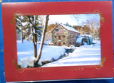 WINTER WATER WHEEL SCENE BOXED CHRISTMAS CARDS