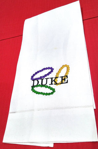 DUKE AND MARDI GRAS BEADS LINEN GUEST TOWEL