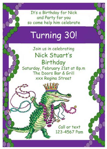 MARDI GRAS ALLIGATOR WITH BEAD BORDER CUSTOM INVITATION