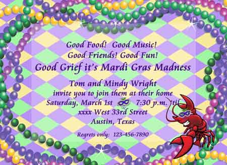 MG BEADS AND CRAWFISH CUSTOM INVITATION