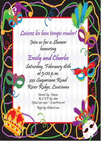 ASSORTED MARDI GRAS MASKS CUSTOM INVITATION