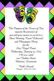 COMEDY AND TRAGEDY  AND DIAMOND BACKGROUND CUSTOM INVITATION